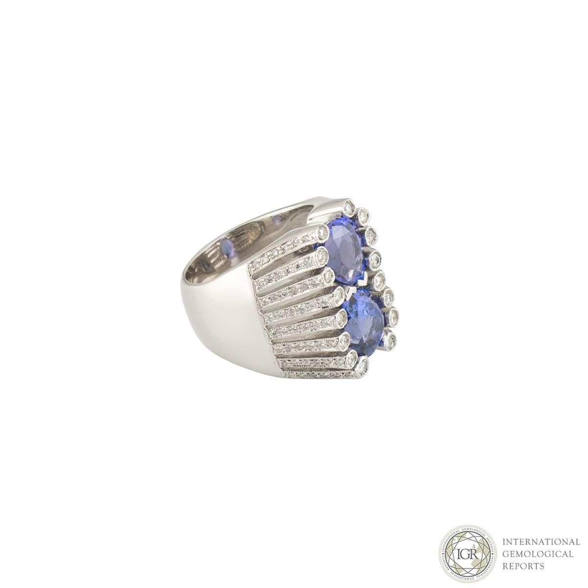 White Gold Diamond and Tanzanite Ring